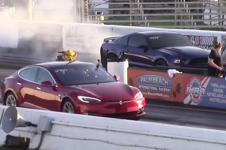 Кто быстрее: Tesla Model S P90D, Сorvette Z06, Mustang или Сamaro (+ВИДЕО)