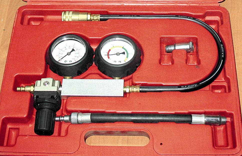 Пневмотестр , или тестр проверки герметичности цилиндров. Она может быть нарушена изза износа деталей цилиндропоршневой группы (поршневых колец, поршней, цилиндров), подгорания седел клапанов, прогорания клапанов и поршней, прокладки ГБЦ.