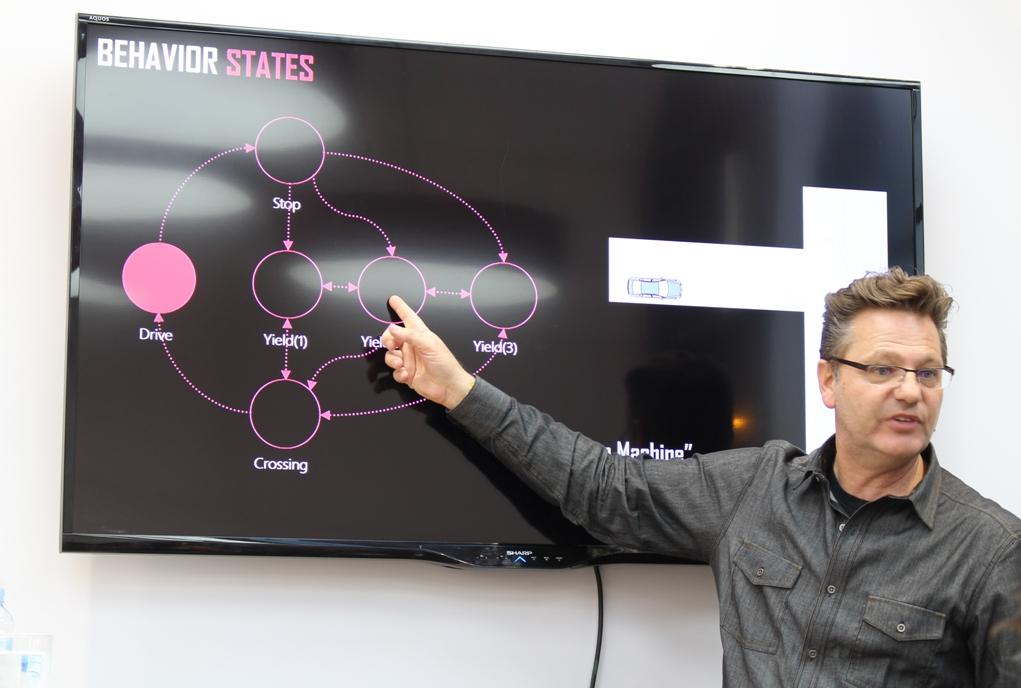 """Директор научно-исследовательского центра Nissan в Силиконовой долине Мартин Серхус (Maarten Sierhuis) презентовал методы """"написания"""" алгоритмов поведения автономных автомобилей в различных дорожных ситуациях."""