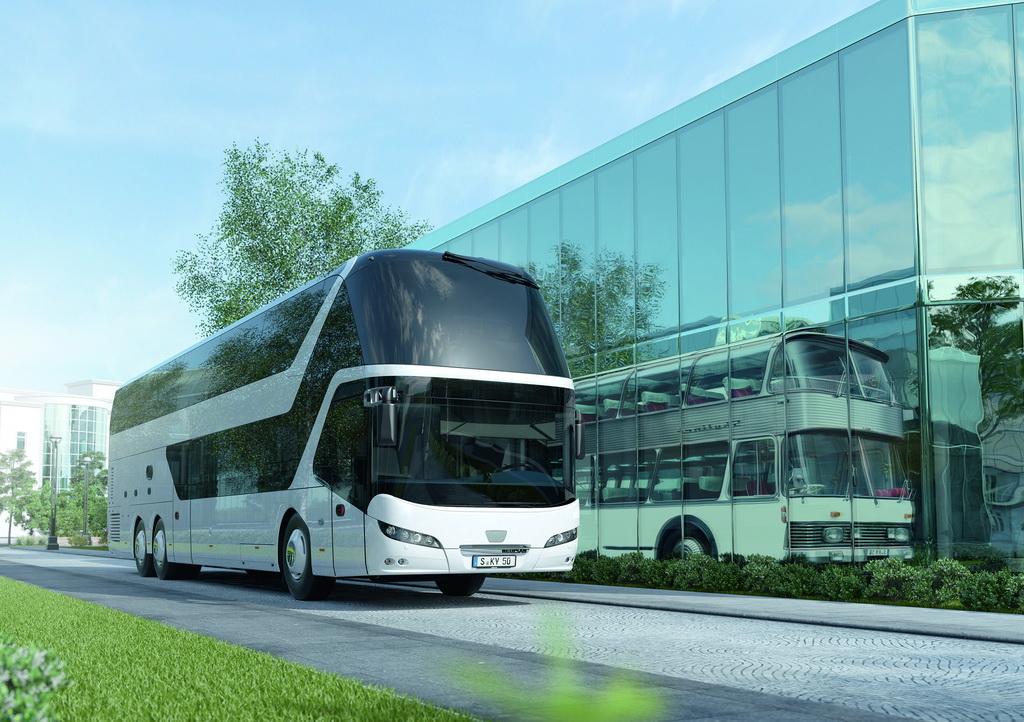Автобус первого и нынешнего, седьмого поколения