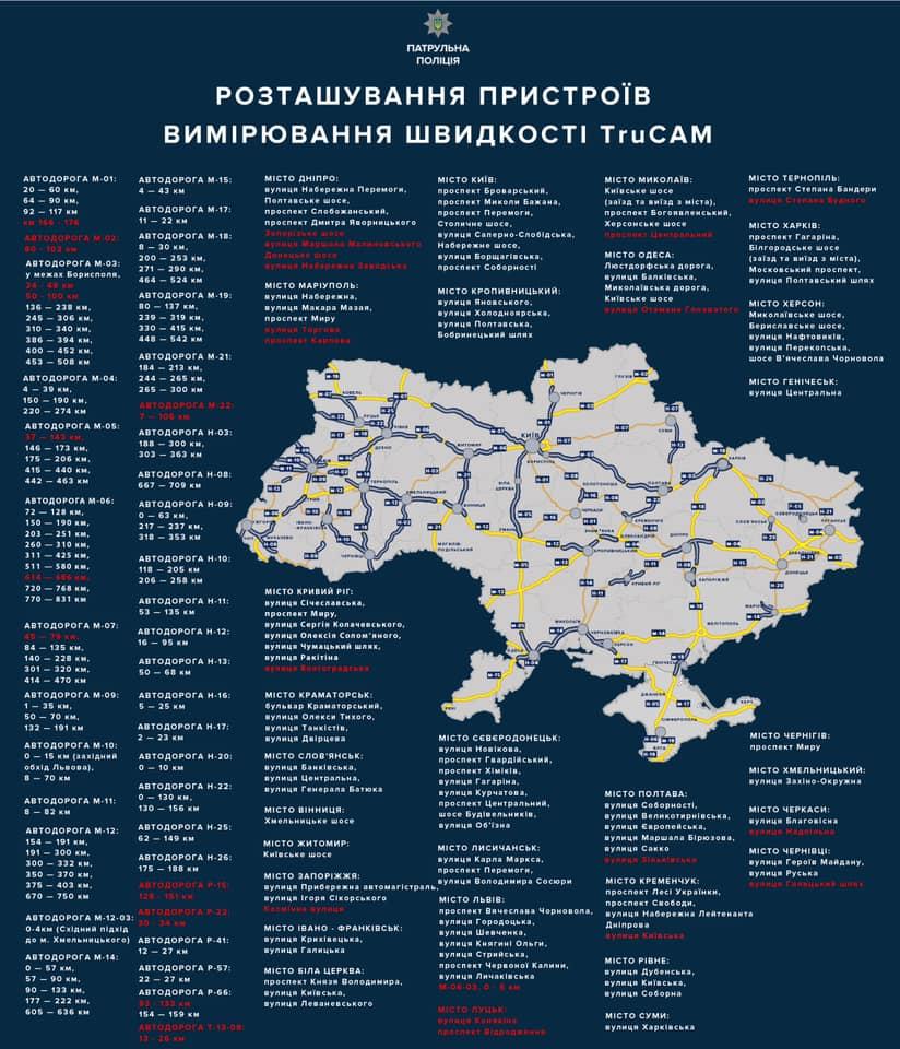 На украинских дорогах станет еще больше радаров TruCAM: карта