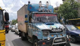 В Киеве замечен невероятный грузовик для развозки молочной продукции